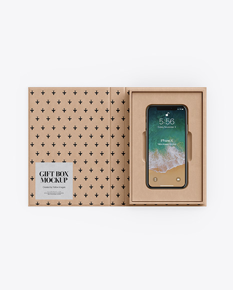 Kraft Gift Box With Apple iPhone X Mockup - Top View