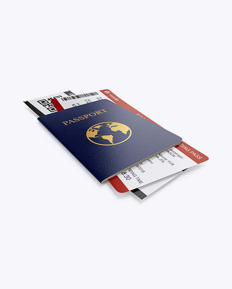 Passport w/ Tickets Mockup - Half Side View