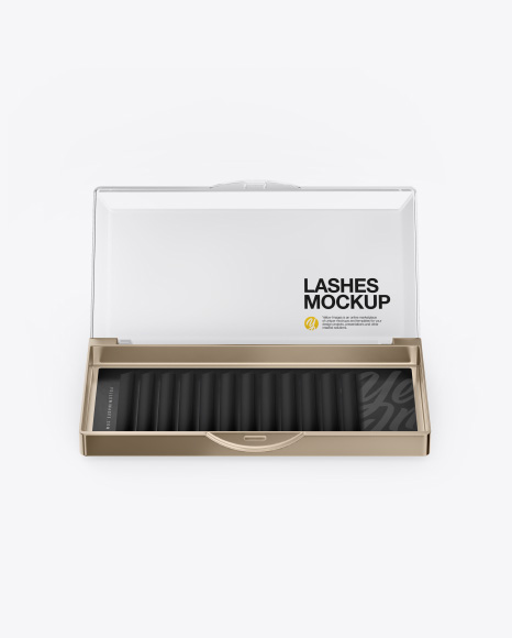 Opened Transparent Box with Lashes Mockup - Front View