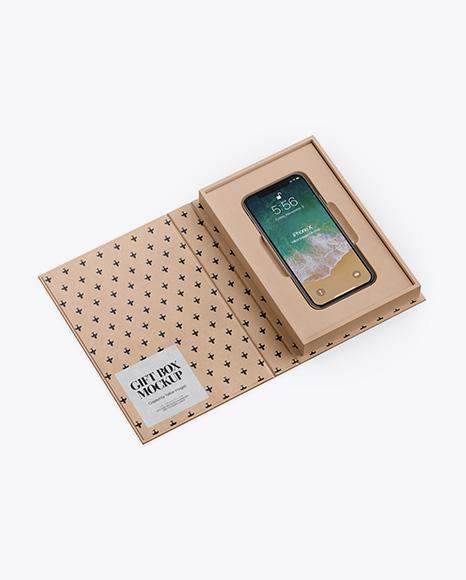 Kraft Gift Box With Apple iPhone X Mockup - Half Side View