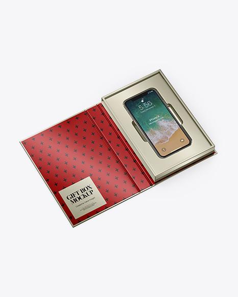 Metallic Gift Box With Apple iPhone X Mockup - Half Side View