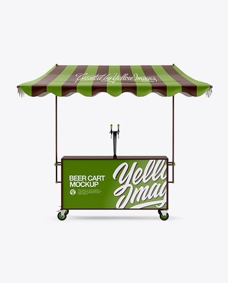Beer Cart With Awning Mockup - Front View