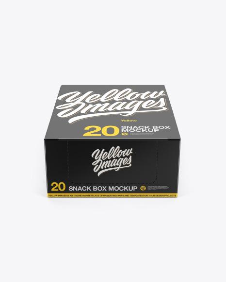 20 Snack Bars Box Mockup - Front View (High-Angle Shot)