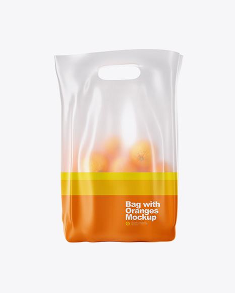 Matte Bag with Oranges Mockup