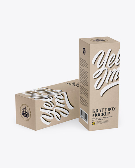 Two Kraft Boxes Mockup - Half Side View