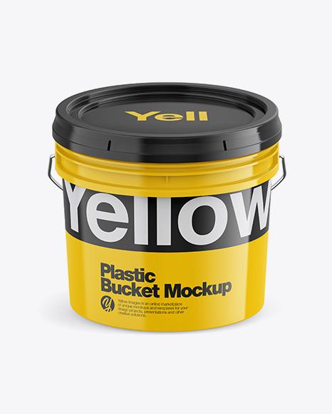 Glossy Plastic Bucket Mockup - Front View (High-Angle Shot)