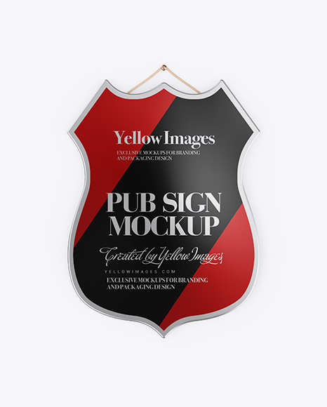 Metallic Pub Sign Mockup - Front View