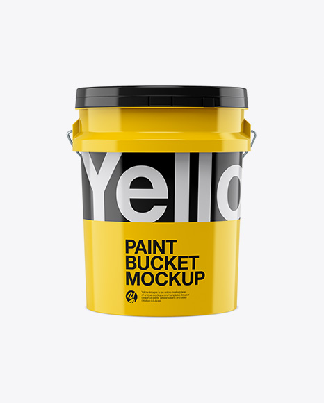 5L Glossy Paint Bucket Mockup - Front View