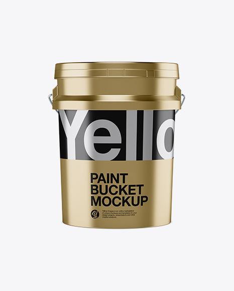 5L Metallic Paint Bucket Mockup - Front View
