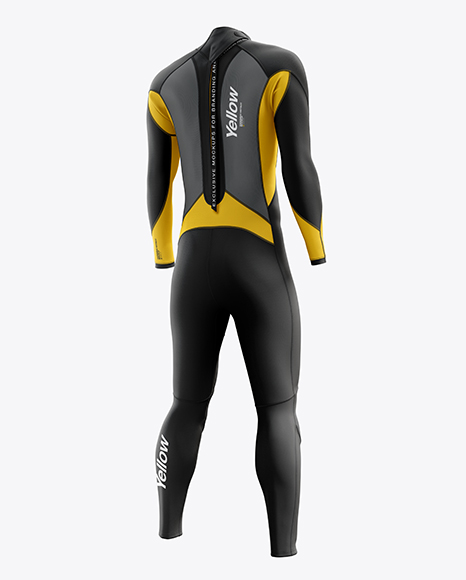 Men's Full Wetsuit mockup (Hero Back Shot)