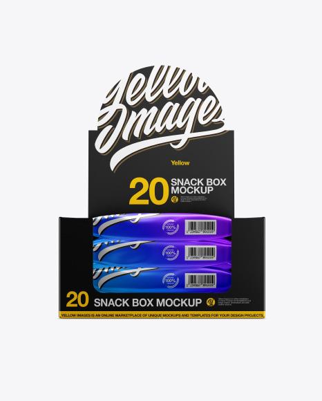 20 Metallic Snack Bars Box Mockup - Front View