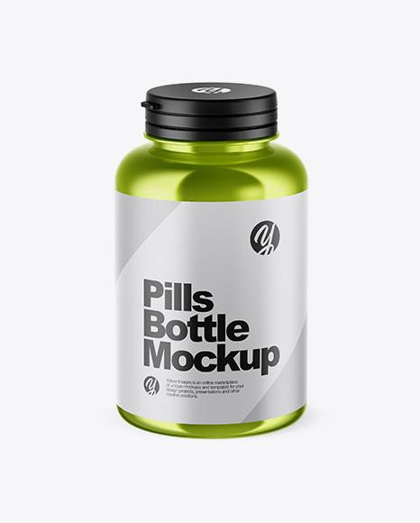 Metallic Pills Bottle Mockup (High-Angle Shot)