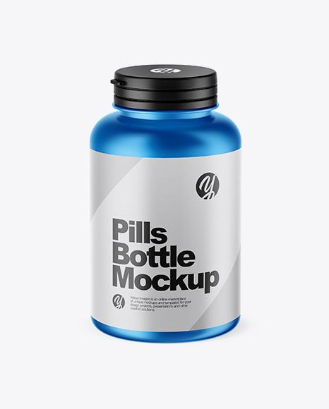 Matte Metallic Pills Bottle Mockup (High-Angle Shot)