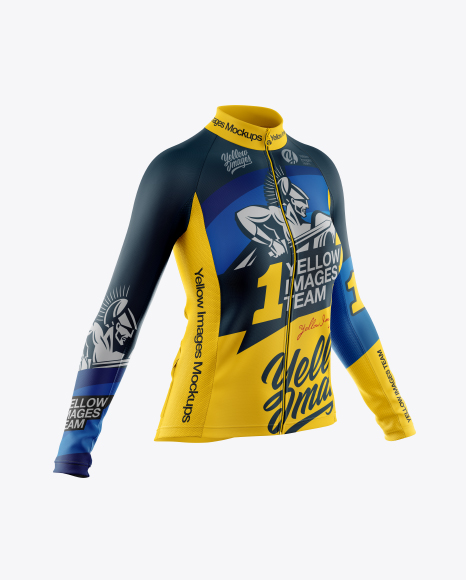 Women's Full-Zip Cycling Jersey With Long Sleeve Mockup - Half Side View