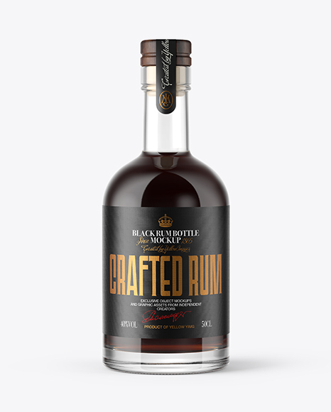 Black Rum Bottle with Wooden Cap Mockup