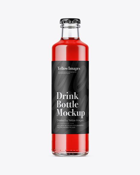 250ml Clear Glass Bottle w/ Soft Drink Mockup