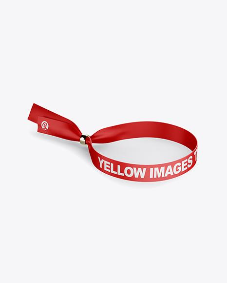 Polyester Wristband Mockup - Half Side View (High Angle Shot)