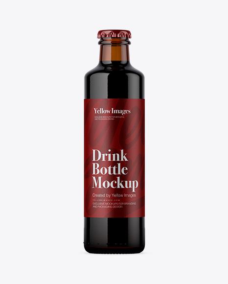 250ml Amber Glass Bottle w/ Dark Beer Mockup
