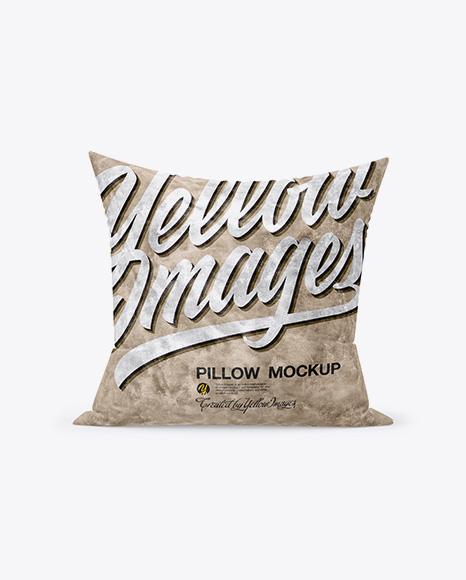 Square Velvet Pillow Mockup - Front View