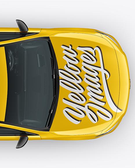 Hatchback 5-doors Mockup - Top View