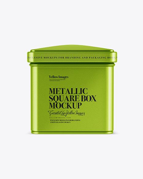 Metallic Square Tin Box Mockup