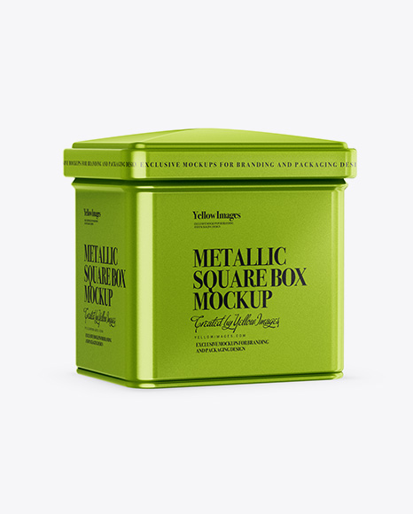 Metallic Square Tin Box Mockup - Half Side View