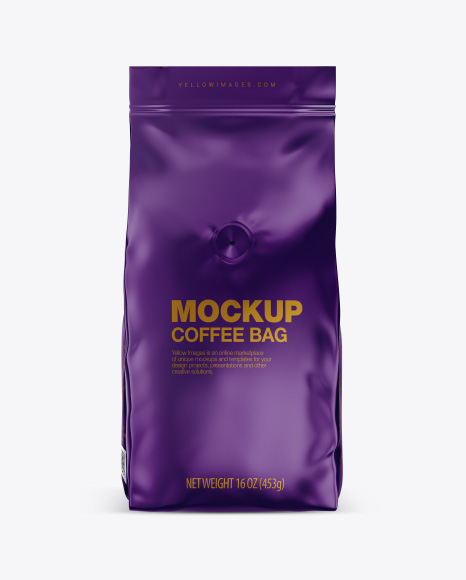 Glossy Coffee Bag with Valve Mockup - Front View