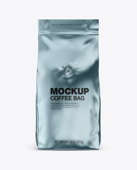 Glossy Metallic Coffee Bag with Valve Mockup - Front View