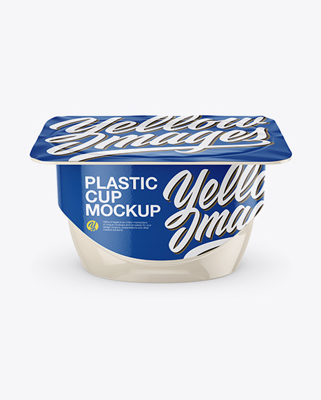 Glossy Yogurt Cup Mockup - Front View (High-Angle Shot)