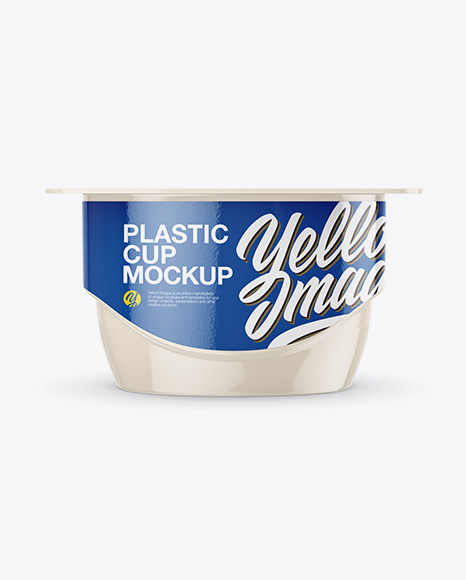 Glossy Yogurt Cup Mockup - Front View