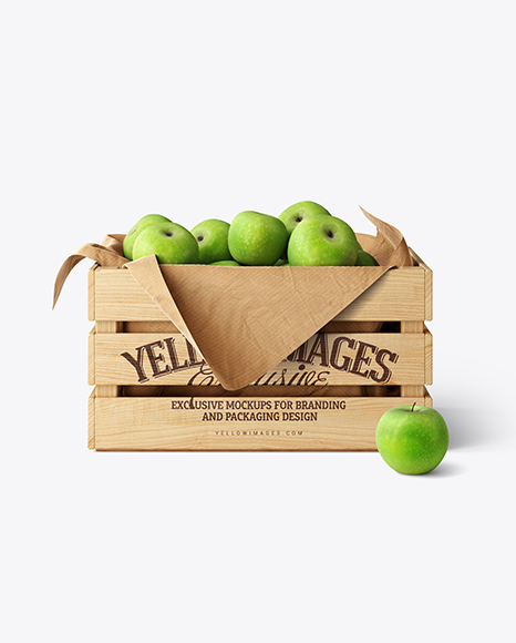Wooden Crate With Apples Mockup