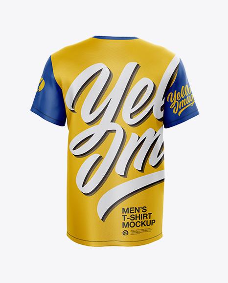 Men's T-Shirt With V-Neck Mockup - Back View