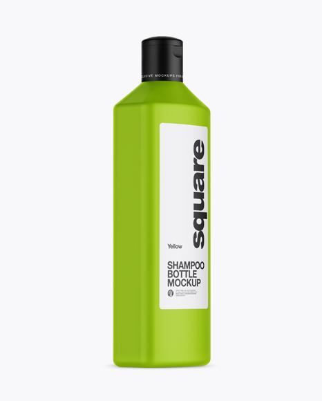 Matte Square Shampoo Bottle Mockup - Half Side View