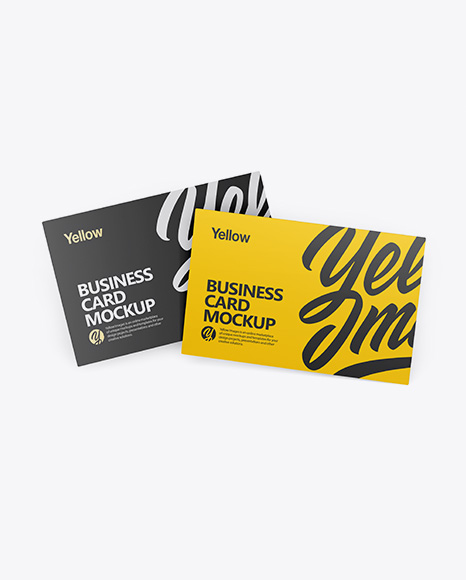 Two Business Cards Mockup - Front View