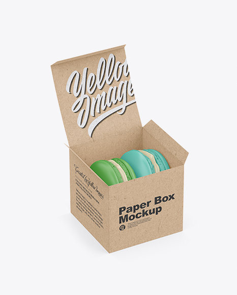 Opened Kraft Box With Macarons Mockup - Half Side View