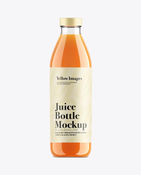 Carrot Juice Glass Bottle Mockup