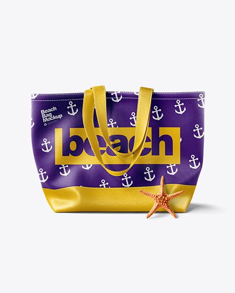 Beach Bag With Leather Handles & Bottom Mockup