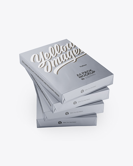 4 Matte Metallic A4 Size Paper Sheet Packs Mockup - Half Side View