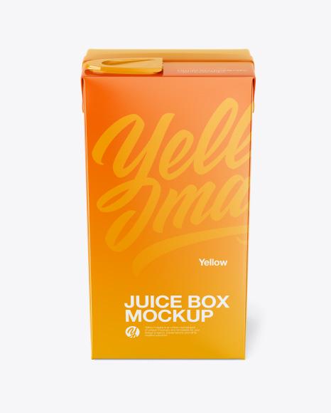 Juice Box Mockup - Front View (High-Angle Shot)