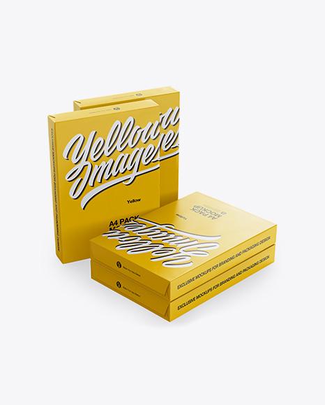 4 Glossy A4 Size Paper Sheet Packs Mockup