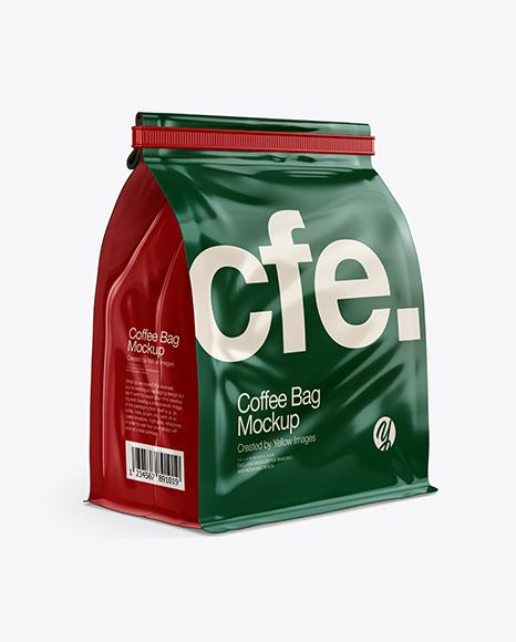 Glossy Coffee Bag With Tin-Tie Mockup - Half Side View