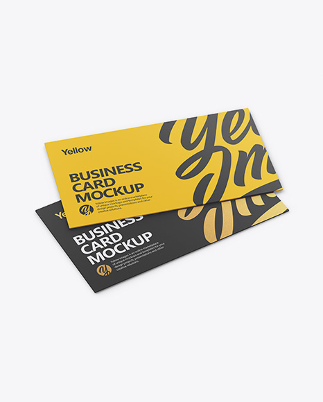 Two Business Cards Mockup - Half Side View