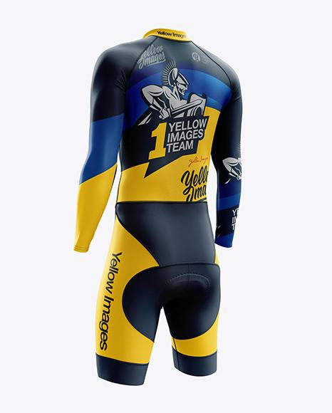Download Men's Cycling Skinsuit LS mockup (Back Right Half Side ...