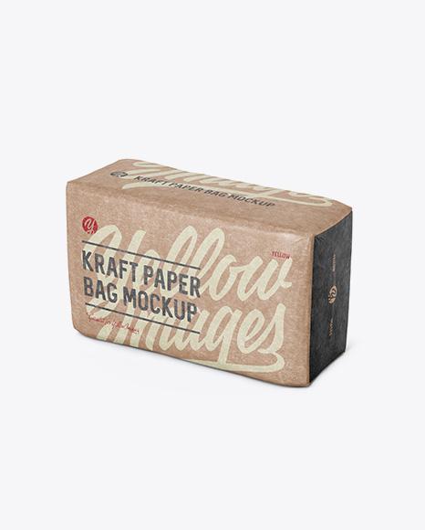Kraft Paper Bag Mockup - Halfside View (High-Angle Shot)