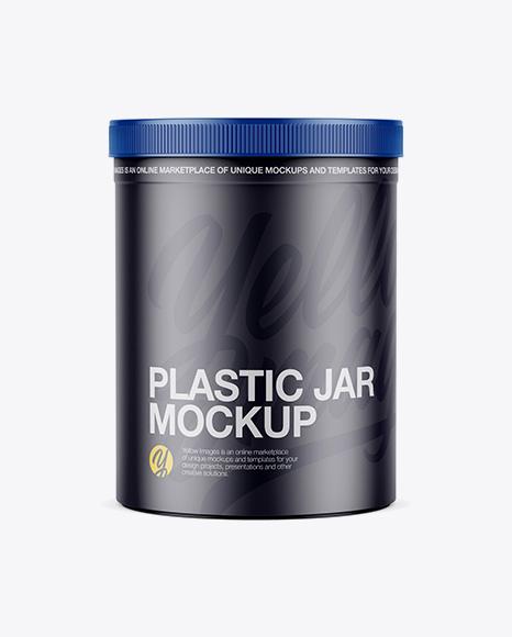 Matte Cylindrical Plastic Jar Mockup