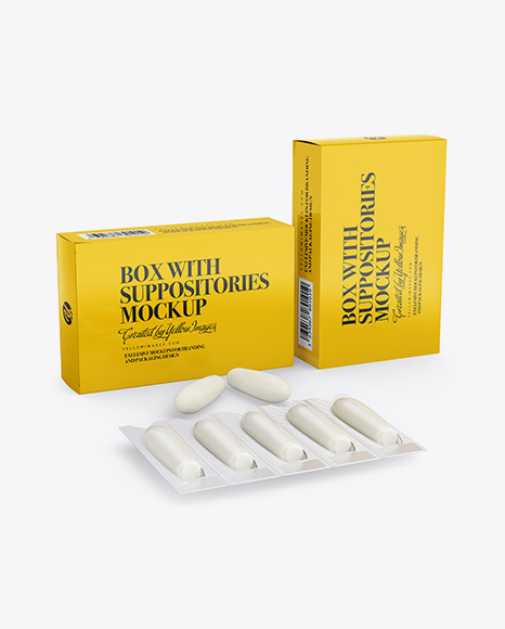 Two Glossy Boxes With Suppositories Mockup - Half Side view