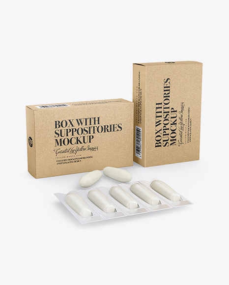 Two Kraft Boxes With Suppositories Mockup - Half Side view