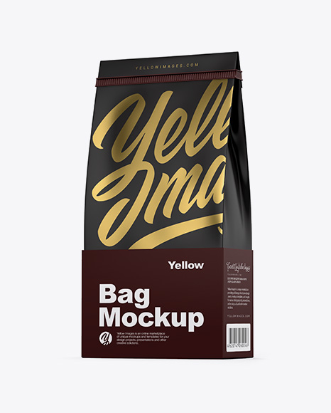 Matte Coffee Bag With Tin-Tie Mockup - Half Side View