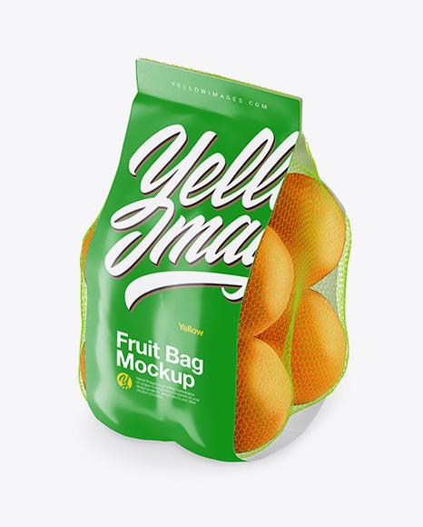 Bag with Oranges Mockup - Half Side View