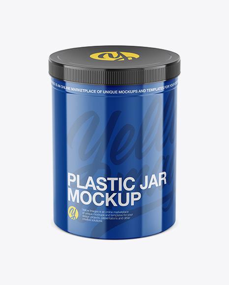 Glossy Plastic Jar Mockup - High-Angle Shot